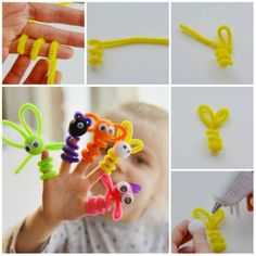 Craft Activities For Toddlers, Fun Crafts For Kids, Diy For Kids, Diy And Crafts, Arts And Crafts, Halloween Crafts, Christmas Crafts, Macrame Bracelet Tutorial, Pipe Cleaner Crafts