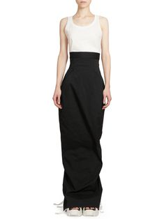 Rick Owens Dirt Pillar High Waist Maxi Skirt - Black 44 (10)