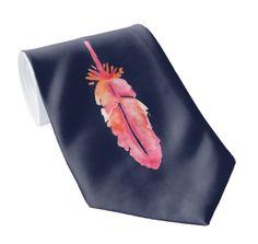 Blue Neck Tie With a Feather . . . . . . . . . #bluetie #classytie #feather #necktie #tie #ties #menfashion #menaccessories #giftforhim #giftformen #giftforman #zazzle #casualtie