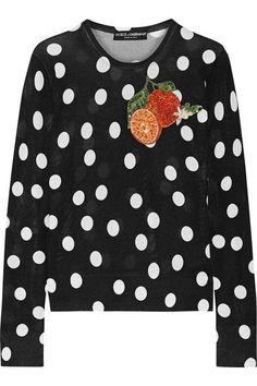 f77b96912886 Dolce   Gabbana - Appliquéd polka-dot silk sweater