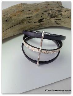 Bracelet cuir 3 rangs , gris anthracite , cuir blanc pailleté doré passe cuir triple argenté, fermoir magnétique : Bracelet par creationsannaprague