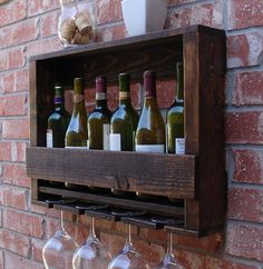 READY TO SHIP Rustic 6 Bottle Wine Rack w/ 4 Glass by KeoDecor