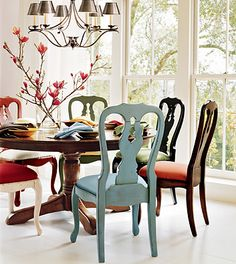 Something interesting about a table with mismatched chairs (no 2 alike) hmmm.