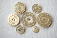 7 Vintage carved mother of pearl buttons by BeauPapier on Etsy
