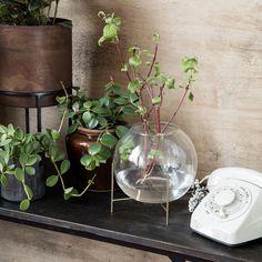 HOUSE DOCTOR Glas Blumen Vase ADA mit Vintage Ständer aus Metall