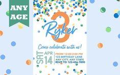 Third Birthday Invitation, Blue Confetti, Boy 3rd Birthday Invite, Confetti Birthday, Any Age, Printable, Boy Birthday Invitation, Printed