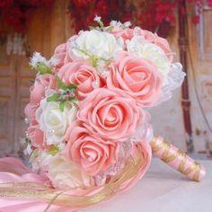 Ramo Boda Novia Cadena Perla Rosa Artificial - Rosa Luz