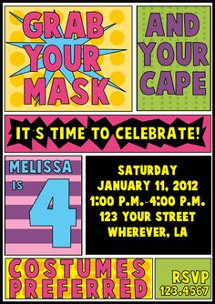 Digital Superhero Girl Birthday Invitation and by letspartynola, $12.00
