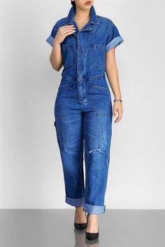 467f67c48740 Denim Plus Size Hole Short Sleeve Jumpsuit