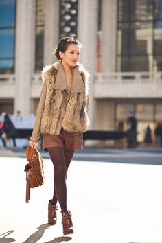 Top: Michael Kors faux fur, AllSaints jacket. Bottom: Topshop shorts, Hue tights. Bag: Proenza Schouler. Shoes: Dior.