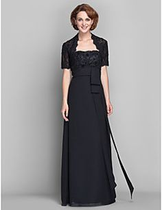 Sheath / Column Plus Size / Petite Mother of the Bride Dress - Wrap Included Floor-length Short Sleeve Chiffon / Lace withAppliques / – USD $ 89.99