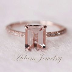 Pink Emerald Cut VS Morganite Ring SI/H Diamonds Wedding Ring 14K Rose Gold…