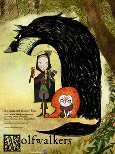 """Teaser poster and artworks from upcoming Tomm Moore's movie """"Wolfwalkers"""" (Song of the sea) at Cartoon Saloon studio."""