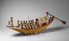 Travelling Boat being Rowed, Middle Kingdom period, Dynasty 12, reign of Amenemhat I, early, ca. 1981-1975 B.C. From Egypt, Upper Egypt; Thebes. Tomb of Meketre, serdab. Wood, paint, gesso, linen twine and linen fabric.