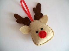 Felt reindeer felt ornament Christmas por CraftaholicShop en Etsy