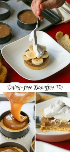 Our Dairy-free Banoffee Pie is the perfect sticky, sweet, crumbly dessert - homemade biscuit base, sticky caramel, fresh banana's and coconut whipped cream! | www.castironcookie.com
