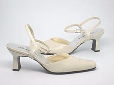 Statutes Ivory Dress Heels, Women's size 7M, used, Medium Heel #Statutes #Heels