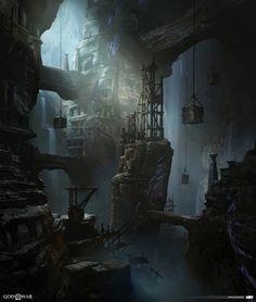 ArtStation - The Mountain, Middle Chimney - God of War, Mark Castanon Fantasy City, Fantasy Places, High Fantasy, Medieval Fantasy, Dark Fantasy Art, Fantasy World, Fantasy Art Landscapes, Fantasy Landscape, Landscape Art