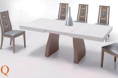 Conjunto de mesa comedor 140 x 90 cm. 2 extensibles 50 cm. tapa lacada en decape y sillas 46 cm. don detalle romboidal.
