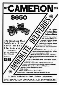 La marque de voitures automobile Américaine Cameron fut fondée en 1903 et arrêta sa production de véhicules en 1920.