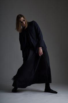 Vintage Dries Van Noten Jacket, Comme Des Garcons Scarf and The New World Order Men's Dishdasha Dress. Designer Clothing Dark Minimal Street Style Fashion