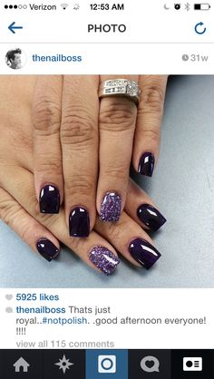 Black with purple sparkles on the ring finger.