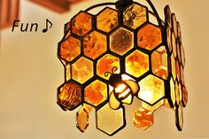 "As an artist El would make these ""Honey comb stained glass"" Stained Glass Lamps, Stained Glass Designs, Stained Glass Projects, Stained Glass Patterns, Stained Glass Windows, Mosaic Glass, Fused Glass, Window Glass, Glass Vase"
