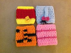 Crocheted cozy Winnie the Pooh inspired set of 4
