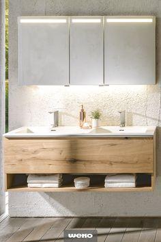 Bad aus Altholzeiche – Modern Home Office Design Wood Bathroom, Home Office Design, Elle Decor, Double Vanity, Kitchen Decor, Household, Sweet Home, Bedroom Decor, Ikea
