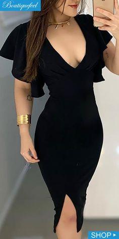 Slit Dress, Bodycon Dress, Ruffles, Dress Outfits, Fashion Outfits, Dresses, High Fashion, Womens Fashion, Sleeve Styles