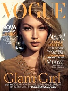 Gigi Hadid stars on the cover of Vogue Brazil in a lace-up suede dress