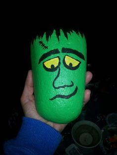 Painted rock Frankenstein by me!