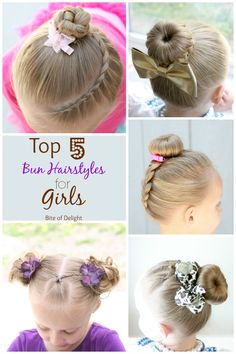 Top 5 Favorite Bun Hairstyles for Girls. These are perfect for fine, thin hair...but they work for great for thick hair too! bite of delight