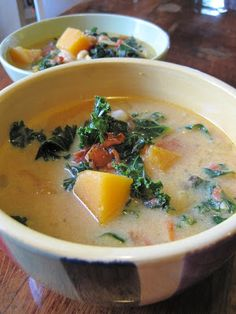 Just now finished cooking this: Curried Butternut Kale Stew. A bit of a hassle, but very good.