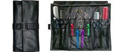 Features: - Genuine leather- 14 pockets for shears or other tools- Protective flap- Single Snap closure - Holds clips and pins Best Diy Face Mask, Dog Grooming Tools, Leather Roll, Shearing, Hair Tools, Boyfriend Gifts, Tri Fold, Tool Roll, Leather Crafts