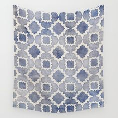 Worn & Faded Navy Denim Moroccan Pattern in grey blue & white Wall Tapestry by Micklyn. Worldwide shipping available at Society6.com. Just one of millions of high quality products available.