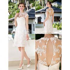 [USD $ 80.00] A-line Princess Jewel Knee-length Lace Wedding Dress (783944)