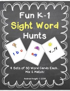 Fun K-1 Sight Word Hunts {Word Wall Words, too!} Pairs of children have so much fun hunting for these words... some even require magnifiers and mirrors.  200 mix-and-match cards, 53 pages, $.