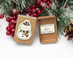SALE: Holiday Card / Cute Snowman Christmas Greeting Card/ Holiday New Year Card/ Matchbox/ Boxed Card/ Merry Christmas and Happy New Year