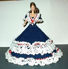 HANDMADE CROCHETED BED DOLL DRESS - ANNIES ATTIC 1993 - PATRIOTIC  DOLL INCLUDED