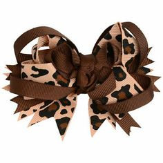 Large Leopard Brown Print Hair Clip Bow
