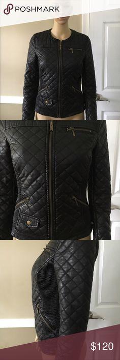 Leather jacket Zara black leather trafaluc quilted zip; used once Zara Jackets & Coats
