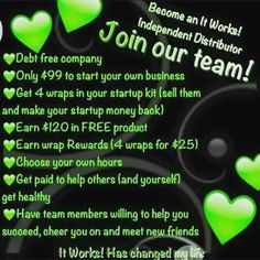 HEY EVERYONE!! I'm looking for 5 more motivated people to join My It Works Global team THIS MONTH!!! I would to help you make from home, make friends and have freedom!! PLUS if you join me the month of June you are eligible for a $500 BONUS!!! Call or text me!! Let's chat!! 843-718-5957 OR Become a distributor now at https://wrappingtooite.myitworks.com