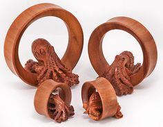 Our newest Saba Wood Tunnels feature a 3D Octopus! These tunnels are available in sizes 20mm-50mm. Price per 1. As with other all natural jewelry, tunnels may vary slightly in color and size, but we do our best to match up the 2 most alike when you purchase a pair. Prices vary by size but go as low as $14.99 for 1 20mm tunnel or $13.99 each when you buy 2+.