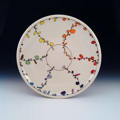 "Decorated Platter, fun rainbow design, porcelain, 15"" diameter. by Free Ceramics."