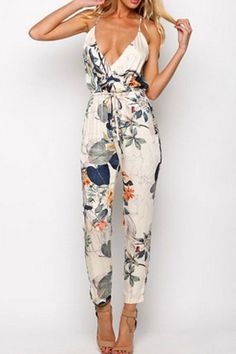 Floral Print Plunging Neck Drawstring Jumpsuit WHITE: Jumpsuits & Rompers   ZAFUL