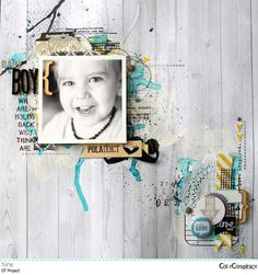 1 photo + paint + clusters + scraps -- great way to use up bits in specific colors