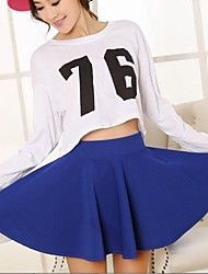 Women's Fashion Blue All-match Pure Color Pleated Mini Skirt