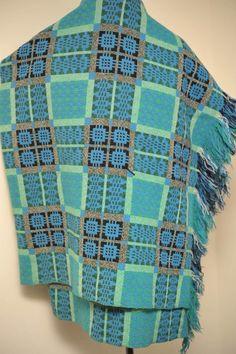 SUPERB VINTAGE BLUES / GREEN WELSH BLANKET FRINGED | eBay