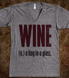 Wine (A Hug In A Glass VNECK) - The Coffee Shop - Skreened T-shirts, Organic Shirts, Hoodies, Kids Tees, Baby One-Pieces and Tote Bags